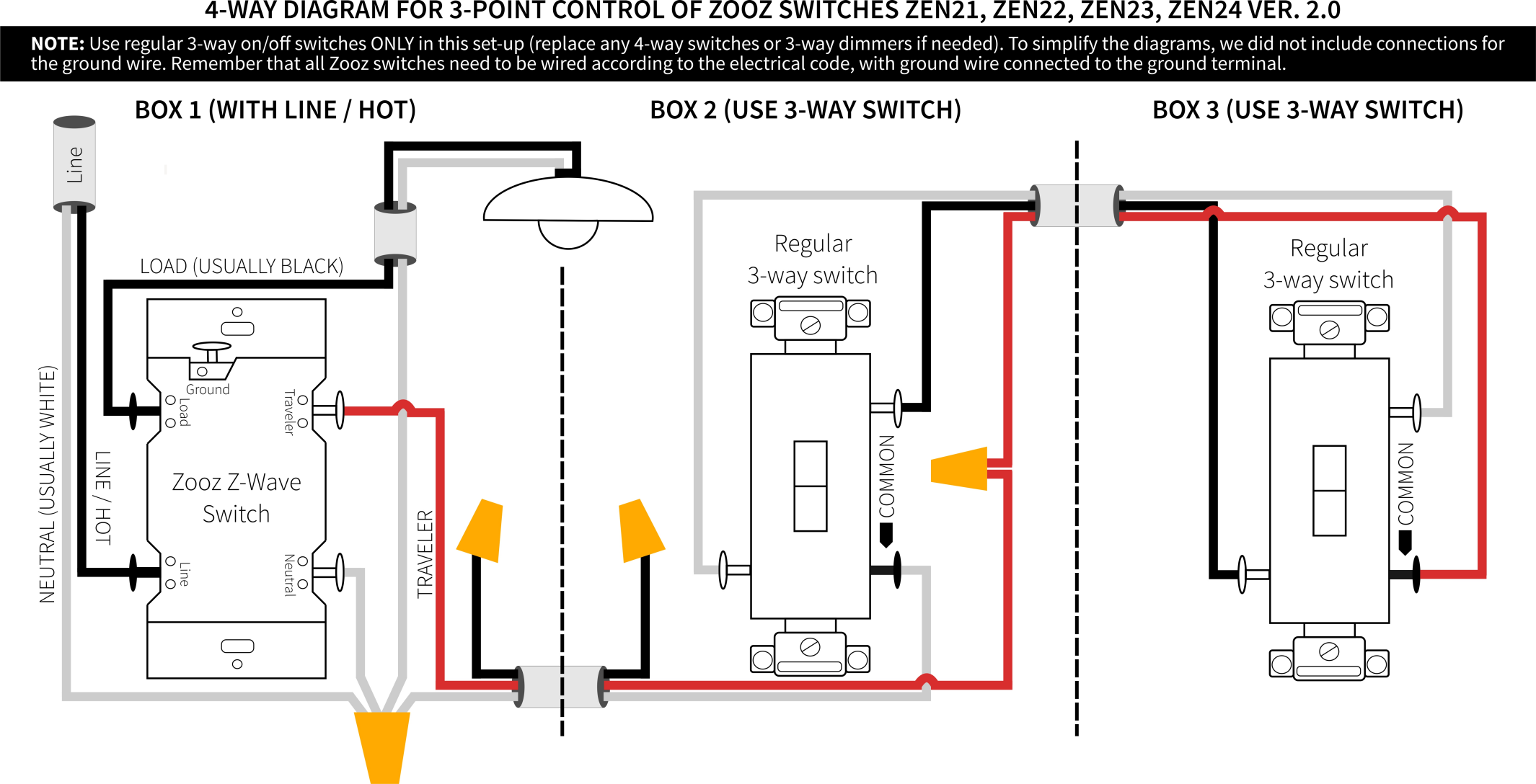 Zooz 4-way Switch Wiring Diagram